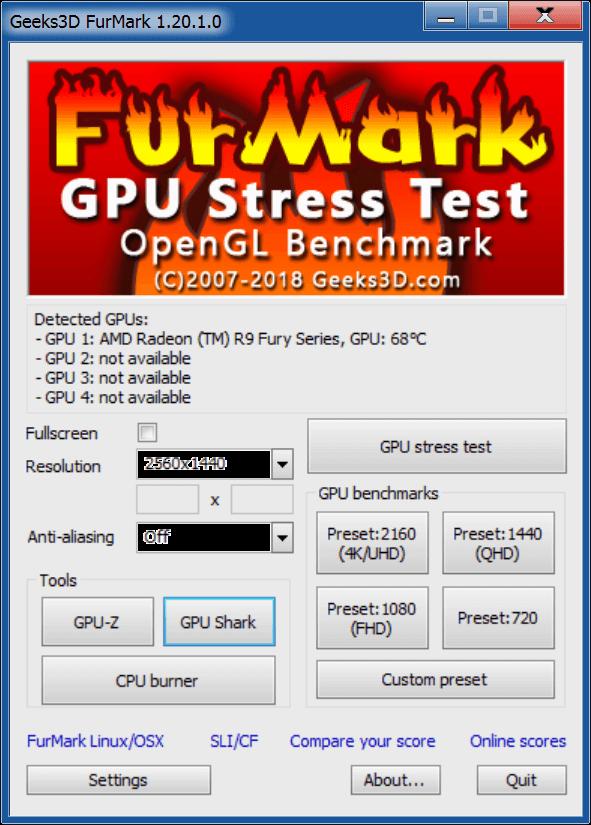 FurMark Главное окно